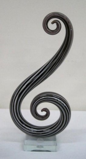 MURANO BLACK SWIRL VASE