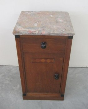 SMALL MARBLE TOP DECO CABINET