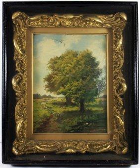 19th Century Oil On Board Landscape