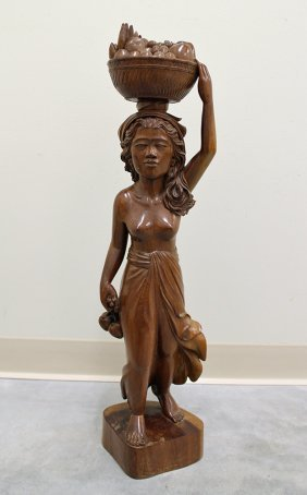 Woman Carrying Fruit Basket Statue