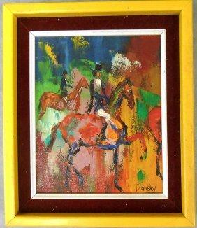 Equestrian Oil On Canvas - Daneky