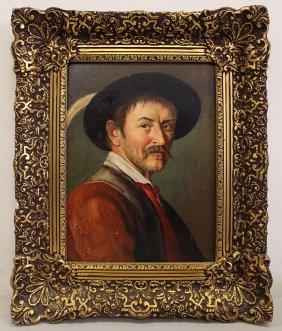 Oil On Board Portrait Painting
