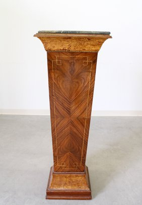 Tall French Inlaid Marble Top Pedestal Stand