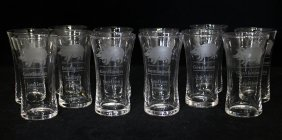 12 Etched Pig Ladies Gentlemen Shot Glasses -1920s