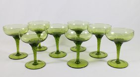 Green Murano Glass Champagne Desert Glasses