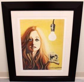 David Mann Girl And The Light Bulb Lithograph