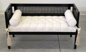 Black Woven Cane Settee Bench