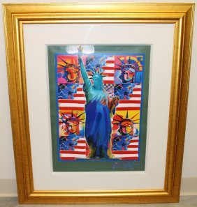 Peter Max God Bless America Painting