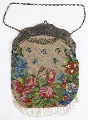 Antique 800 Silver Micro Beaded Purse