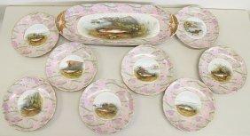 Antique Limoges Fish Platter & Plates