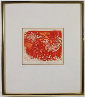 Kenji Ushiku (1922-2012) Etching
