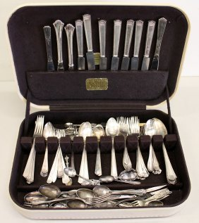 Silverplate Flatware & Box