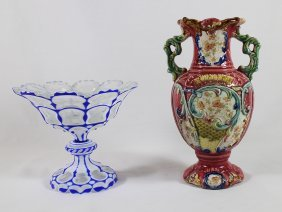 Majolica Vase & Cut To Clear Compote