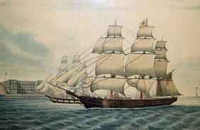 19th Century Clipper Ship Painting