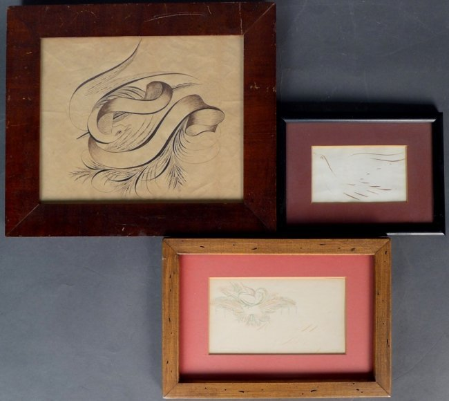 Collection Of 3 Pieces Of American Calligraphy Lot 26