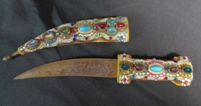 Dagger W/ Gem & Bead Covered Scabbard And Hilt