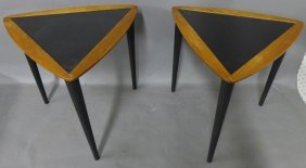 Pair Modern Triangle Side Tables