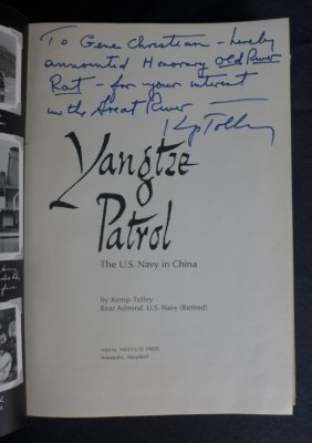 """Author Signed """"yangtze Patrol"""" Rear Admiral Tolley"""
