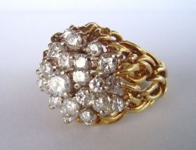 18k Gold & Diamond Cocktail Ring,