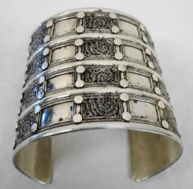 Sterling Silver Etruscan Style Cuff Bracelet
