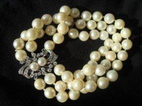 14k White Gold, Diamond & Pearl Bracelet