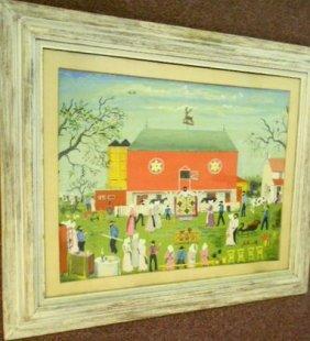 "Folk Art Amish Painting, ""Quilt Sale"""