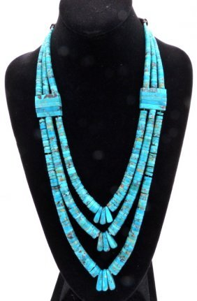 Three Strand Turquoise Necklace.