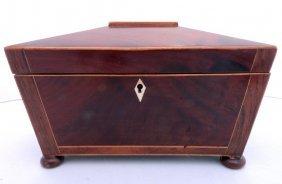 48 Antique English  Mahogany Tea Caddy