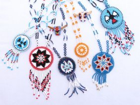 Native American Beaded Necklaces & 2 Pins