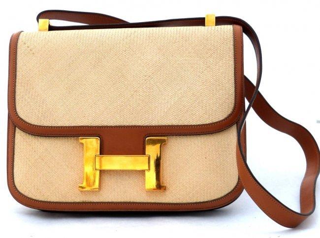 283: Vintage Hermes \u0026quot;Constance\u0026quot; Canvas \u0026amp; Leather Bag : Lot 283