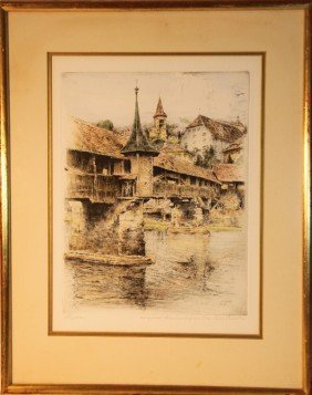 Paul Geissler (1881-1965).  Signed, Framed Colored E
