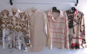 Lot Of 4 Designer Silk Blouses Escada, Anne Klein