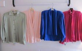 Lot Of 4 Silk Blouses Cobalt Blue, Pale Pink, Moss