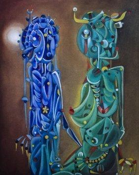 Jose MIJARES (1921-2004) , Blue And Green Creatures