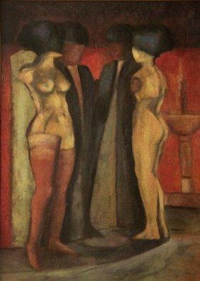 Armando MORALES (1927-2011) , Four Shadowy Figures,