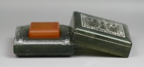 Chinese Orange Soap Stone Seal With Jade Case