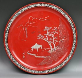 Japanese Red Lacquer Plate With Mother Of Pearl