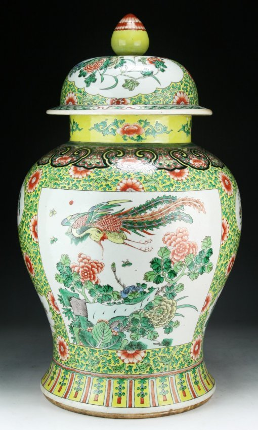 A Massive Chinese Antique Famille Verte Porcelain Vase Lot 204