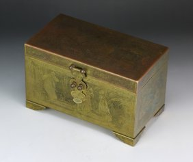 A Chinese Antique Bronze Tiered Lidded Case