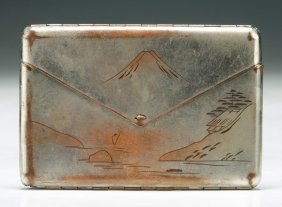 A Japanese Antique Engraved Damascene Cigarette Case