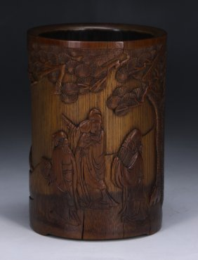 A Chinese Antique Bamboo Carved Brush Pot