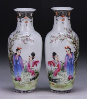 Pair Chinese Antique Famille Rose Eggshell Porcelain