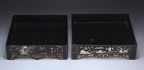 Two (2) Chinese Antique Wood & Mother Of Pearl Trays