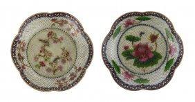 Pair Chinese Plique-a-jour Cloisonne Plates