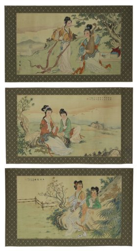 Three (3) Chinese Unmounted Paper Paintings