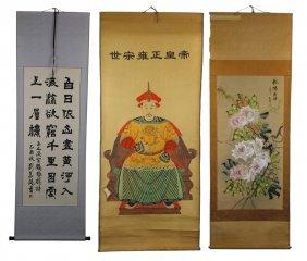 Three (3) Chinese Hanging Painting Scrolls