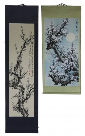 Two (2) Chinese Paper Hanging Painting Scrolls