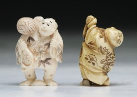 Two Carved Antique Ivory Netsuke