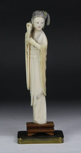 A Chinese Antique Polychrome Ivory Carved Beauty