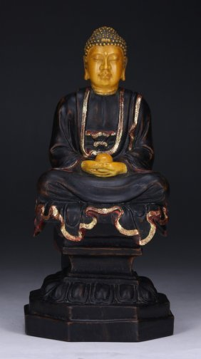 A Chinese Antique Gilt Ivory & Wood Carved Buddha